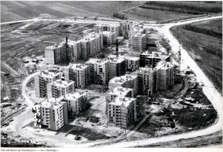 Aerial view of the Hautepierre district under construction
