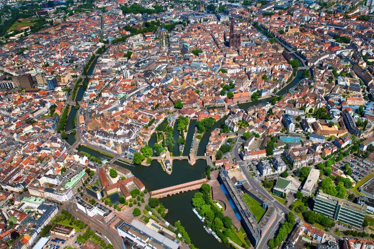 Aerial view of the Grande Île de Strasbourg, with Petite France in the foreground