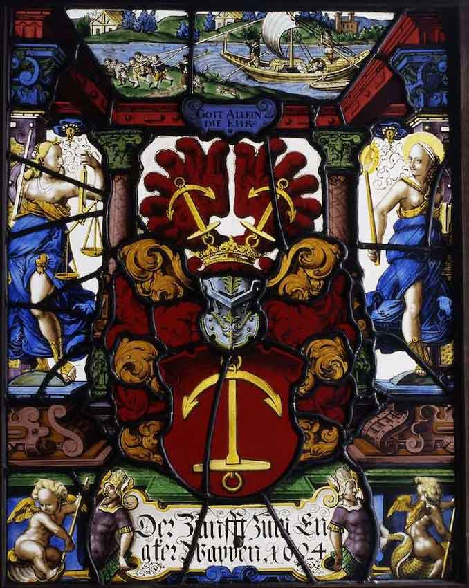 Stained glass window of Anchor Corporation at the Historical Museum of Strasbourg City