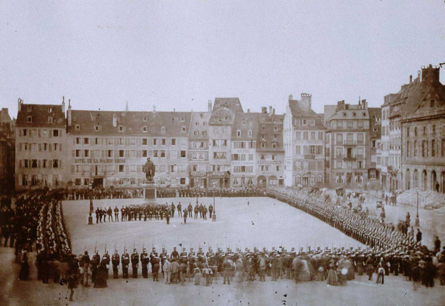 A military parade when Strasbourg is no longer French in 1871