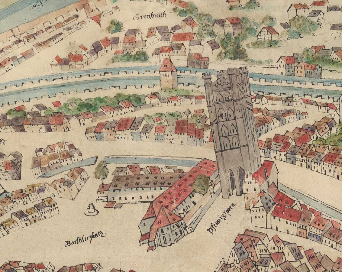104/5000 Detail of the Morant Plan (1548) - The Franciscan Convent and the Pfennigturm on the Cordeliers square