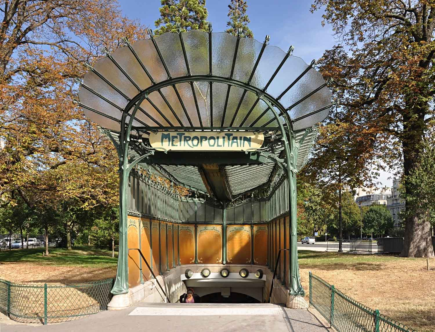 Guimard metro entrance, Porte Dauphine in Paris