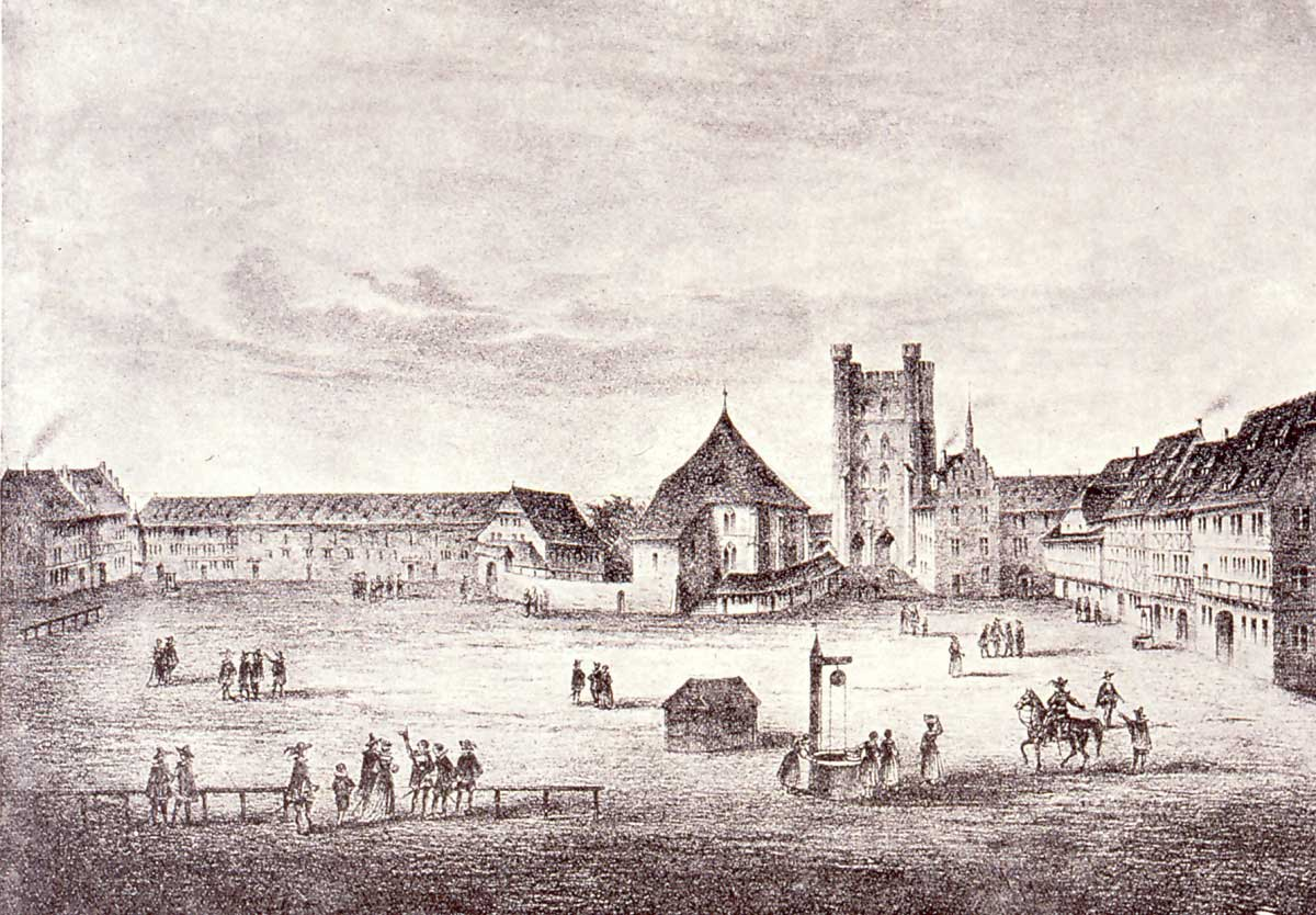 Formerly Cordeliers square, the Franciscan Convent and the Pfennigturm around 1640