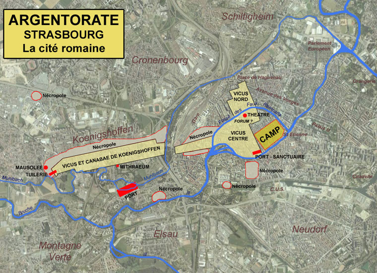 Map of the Roman city superimposed on the map of Strasbourg