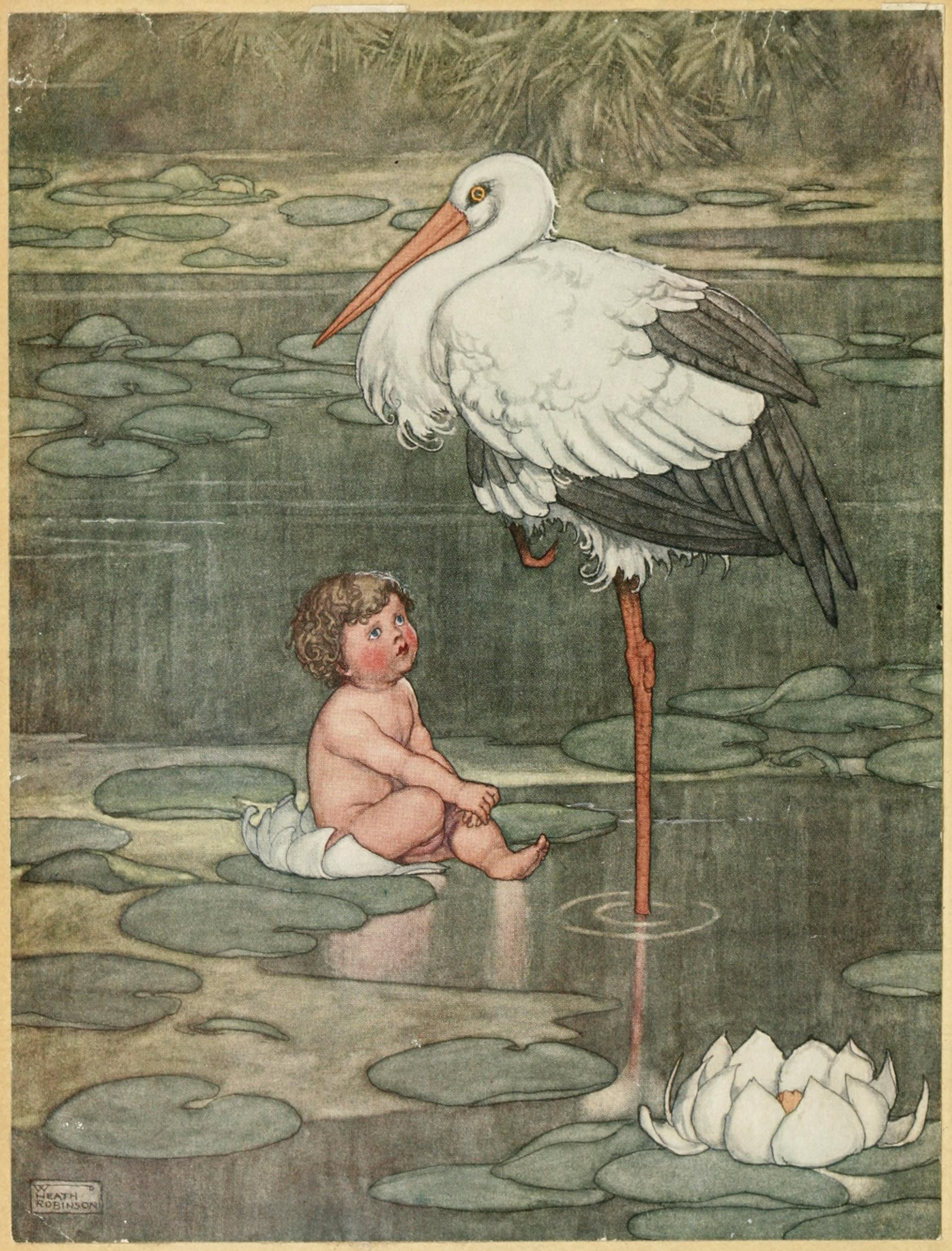 The underground lake? (Stork illustration for Andersen's Tales by William Heath)
