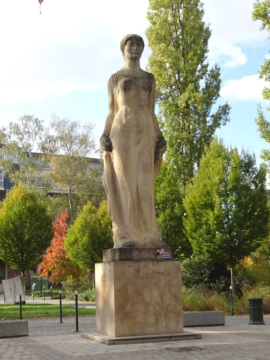 The Athena statue in Athens square in October 2020