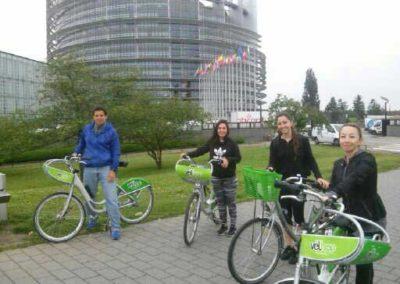 Visite vélo devant le Parlement Européen de Strasbourg
