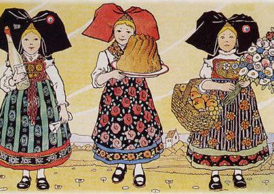 Illustrations de costumes traditionnels d'Alsaciennes