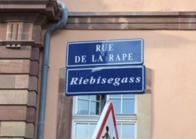 Panneau rue de la Rape à Strasbourg