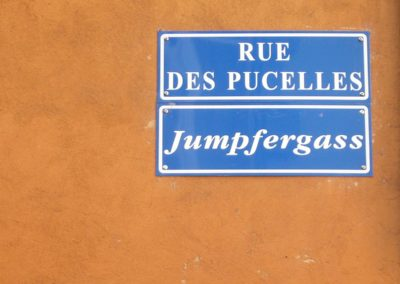 Panneau rue des Pucelles à Strasbourg