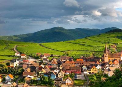 Vue sur Niedermorschwihr en Alsace